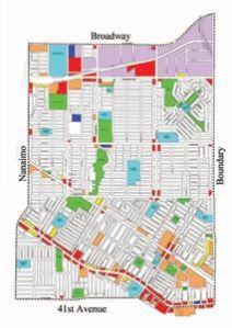 Map of Renfrew-Collingwood in East Vancouver