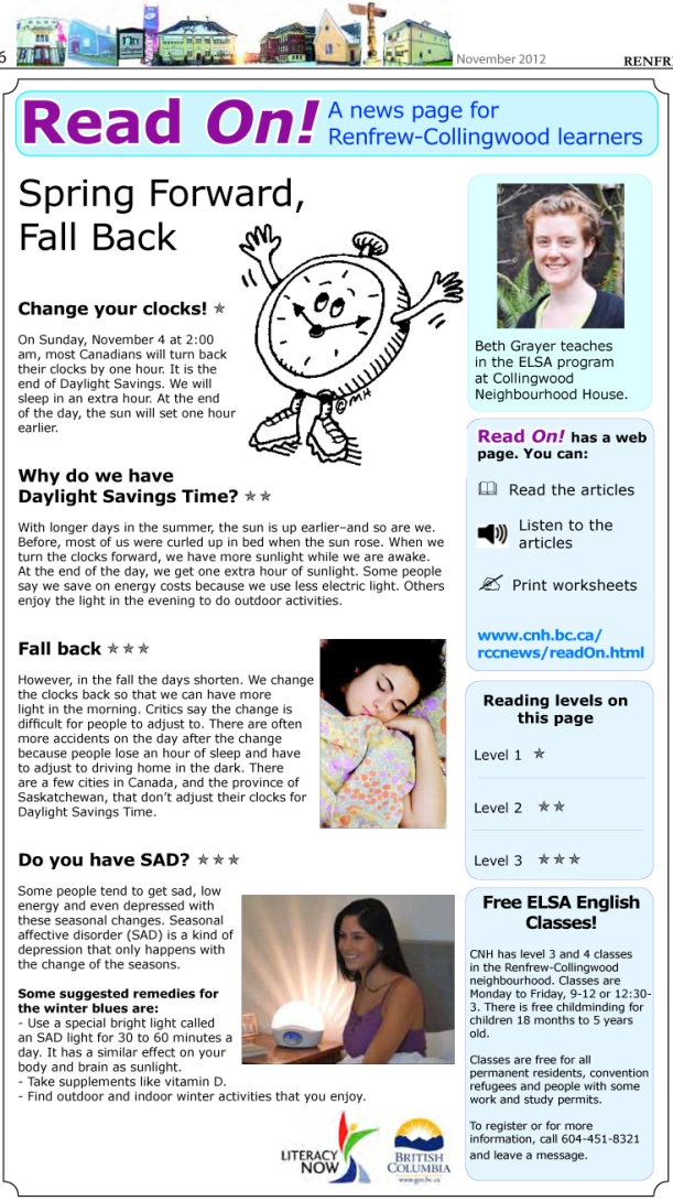 Read On November 2012, A News Page for Renfrew-Collngwood Learners