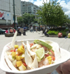 Seafood tacos from one of the food carts at Robson Square