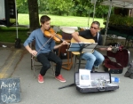 Andy and Dad entertain shoppers at Trout Lake Market