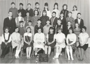 One of the first graduating classes at Nootka, 1966. Second row from the bottom, fourth student from the left is Glenn Dennis.