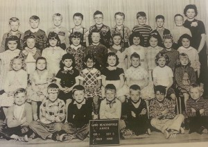 Grade 1 class, 1959. Front row centre is Randy Schisler.