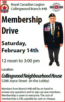 Collingwood Legion Branch #48 membership drive is Valentine's Day