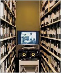 Inside VIVO's video archive. The display monitor was part of a larger exhibition by On Main Gallery entitled The Long Time: 21st Century Art of Steele + Tomczak. Photo: On Main Gallery