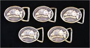 Shelley Stefan's family heirloom belt buckles with the image of the armadillo.