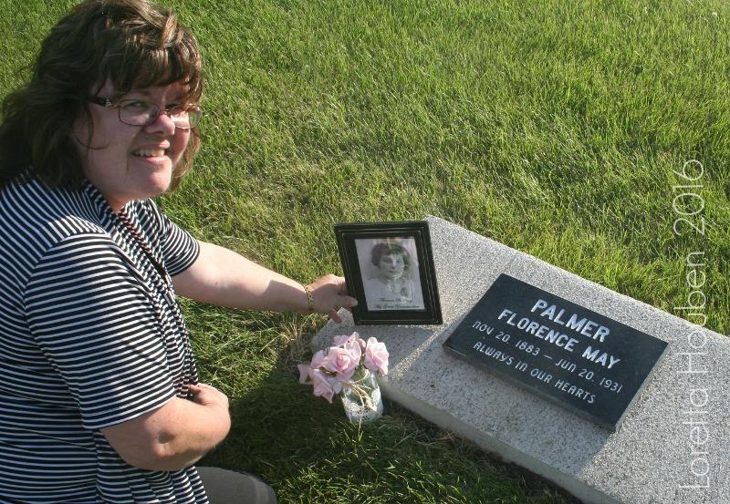 Loretta Houben beside her great- grandmother's grave in Saskatchewan.