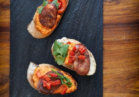 chorizo.tapas.roasted.red.pepper.sauce
