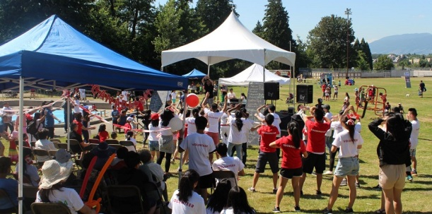 Young and old alike took part in a community dance at Youth Celebrate Canada Day last July 1st. Photo by Vincent Wu